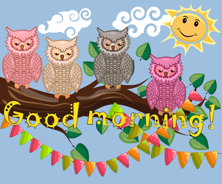 Good morning greetings text with owl design royalty free cliparts good morning greetings text with owl design stock vector 97956941 m4hsunfo