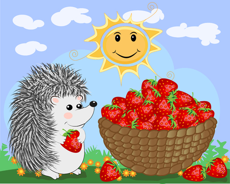 A cute little hedgehog in the clearing next to a huge basket of ripe juicy strawberries.