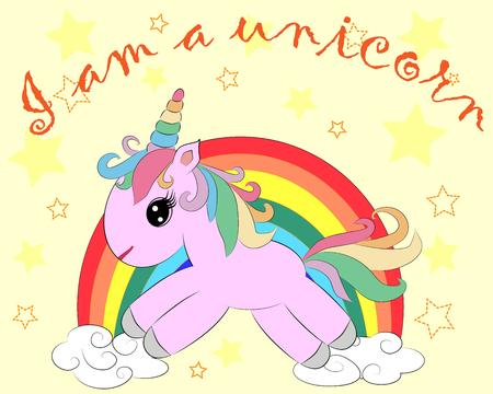 A little pink cute cartoon Unicorn Illustration.