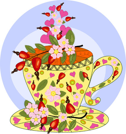 Tea with dog rose. Tea cooked with love. Hand drawn design element Illustration