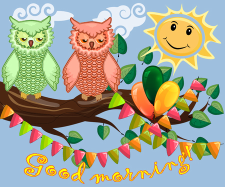 An unhappy, sleepy owl on a tree branch in the morning, the sun shines and smiles. Inscription Good morning. Morning, breakfast Vector illustration. Illustration