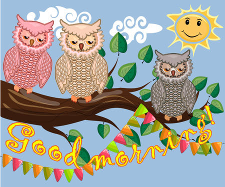 An unhappy, sleepy owl on a tree branch in the morning, the sun shines and smiles. Inscription Good morning. Morning, breakfast 向量圖像