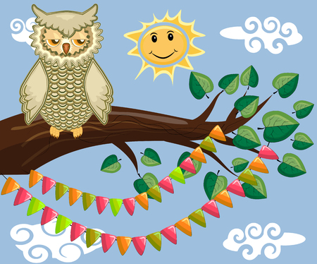 An unhappy, sleepy owl on a tree branch in the morning, the sun shines and smiles. Inscription Good morning. Morning, breakfast Ilustracja