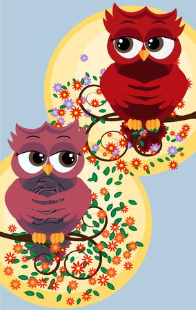 Cute beautiful flirtatious red owls on a branch Illustration