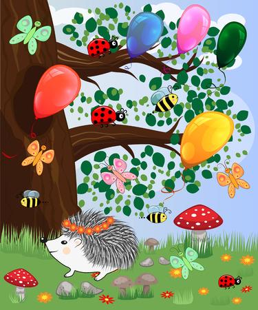 Forest landscape, cartoon illustration with ladybirds, mushrooms, mushrooms, sun, hedgehog, butterflies. Children's style, greeting card