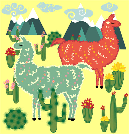 Cute Alpaca, llama animals and cactus. Cartoon animal illustration.