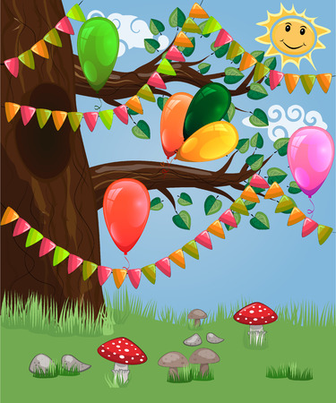 Landscape with a tree decorated with garlands, balloons postcard, cartoon children's style, spring