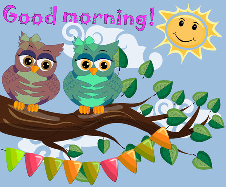 Unhappy, sleepy owls on a tree branch in the morning, the sun shines and smiles with inscription good morning.