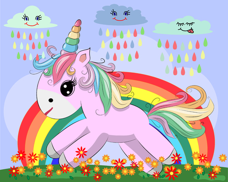A little pink cute cartoon unicorn on a clearing with a rainbow, flowers, and sun.