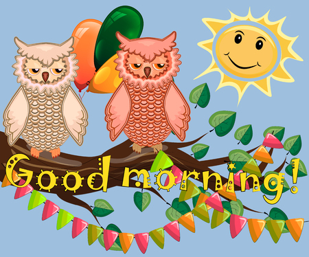 An unhappy, sleepy owl on a tree branch in the morning, the sun shines and smiles with inscription of Good morning. Illustration