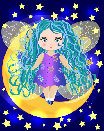 Fairy sitting on a moon with stars accent.