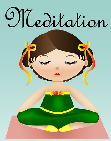 Female yoga. A girl in a green suit is sitting in a lotus pose. illustration of a woman practicing yoga. Inscription Meditation