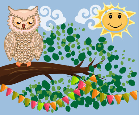 An unhappy, sleepy owl on a tree branch in the morning, the sun shines and smiles. Stock Illustratie