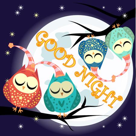 Tarjeta de buenas noches con luna llena y lindo búho. Foto de archivo - 98315166