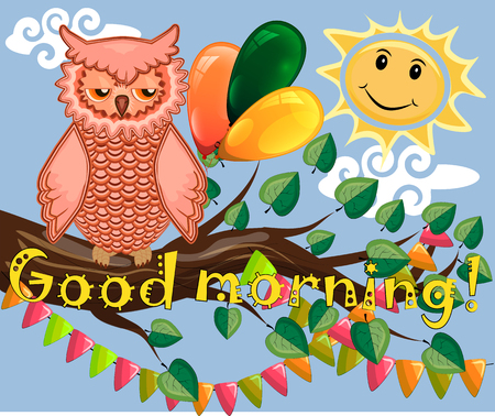 An unhappy, sleepy owl on a tree branch in the morning, the sun shines and smiles. Inscription Good morning. Vector illustration.