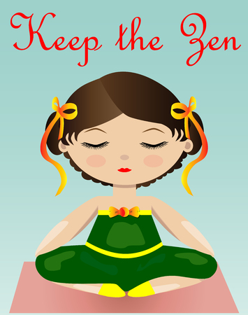 A girl in a green suit is sitting in a lotus pose.