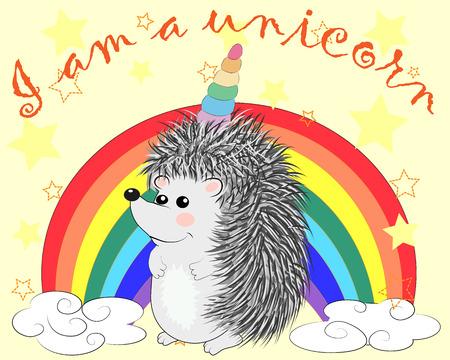 A cute cartoon hedgehog with a unicorn horn on a rainbow. Concept everyone can be a unicorn