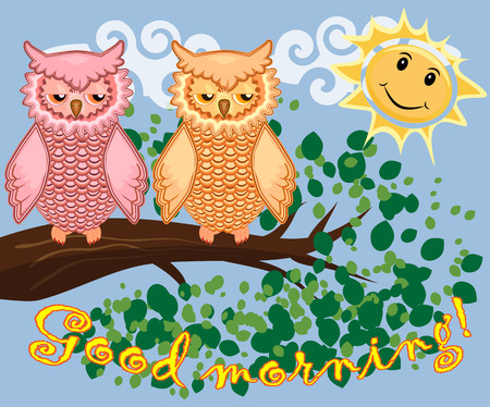 An unhappy, sleepy owl on a tree branch in the morning, the sun shines and smiles vector illustration Vectores