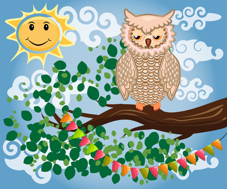 An unhappy, sleepy owl on a tree branch in the morning, the sun shines and smiles. Illustration