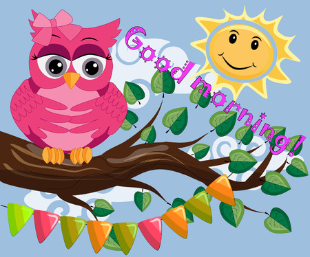 An unhappy, sleepy owl on a tree branch in the morning, the sun shines and smiles. Inscription of good morning.