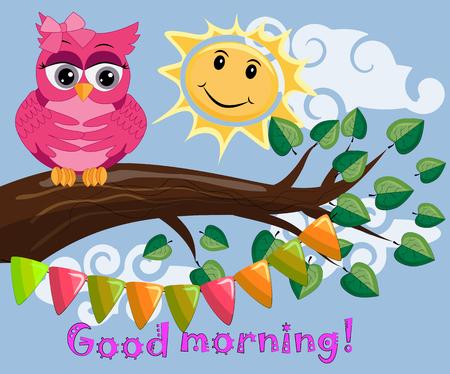 朝の木の枝の上で不幸で眠いフクロウ、太陽が輝き、笑顔。おはようの碑文を持っています。 写真素材 - 98517825