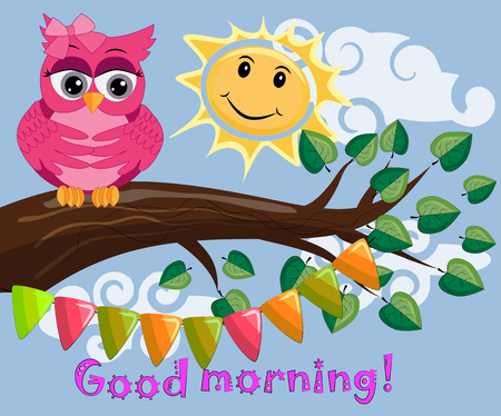 An unhappy, sleepy owl on a tree branch in the morning, the sun shines and smiles. Has inscription of good morning.