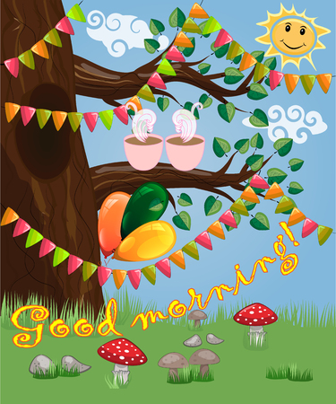 Landscape with a tree and a couple of cups of coffee decorated with garlands, balloons, postcard, cartoon children's style, spring. Has inscription of good morning.
