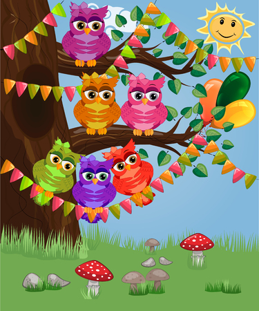 A cute flirtatious owl sits on a tree decorated with garlands, balloons, a postcard, a cartoon childrens style, spring.