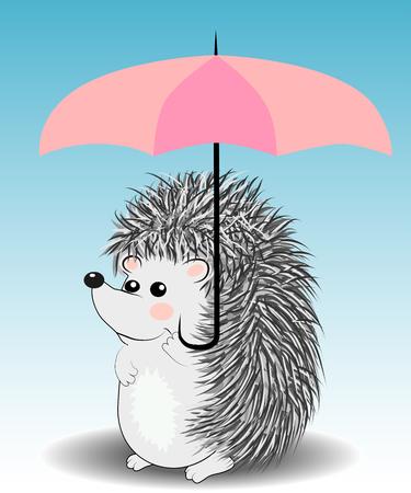 Little cute cartoon hedgehog with an umbrella.