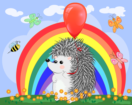 Two lovers cute cartoon hedgehogs, a boy and a girl near a seven-colored rainbow on a spring, summer day.