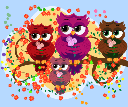 A family of colorful, bright, lovely cartoon owls on the branches of flowering trees. Moms, dads, children. Card