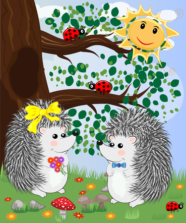 Forest landscape, cartoon illustration with ladybirds, mushrooms, mushrooms, sun, hedgehog, butterflies. Children's style, greeting card