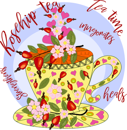 Tea with dog rose. Tea cooked with love. Hand drawn design element Vector illustration. Illustration