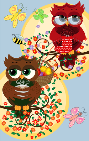 Cute beautiful flirtatious red owls on a branch with a cup of steaming coffee, tea or chocolate Vector illustration.