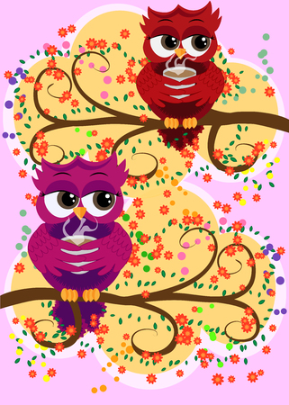 Cute beautiful flirtatious owls on the tree with a cup of steaming coffee, tea or chocolate Illustration