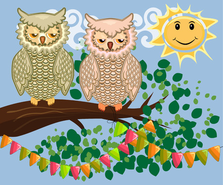 An unhappy, sleepy owl on a tree branch in the morning, the sun shines and smiles. Morning, breakfast.