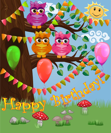 A cute flirtatious owl sits on a tree decorated with garlands, balloons, a postcard, a cartoon childrens style, spring. Inscription Happy Birthday.