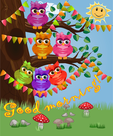 Cute coquettish owls with coffee sits on a tree decorated with garlands, balloons, postcard, cartoon children's style, spring. Inscription Good morning...