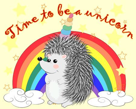 A cute cartoon hedgehog with a unicorn horn on a rainbow. Concept everyone can be a unicorn.