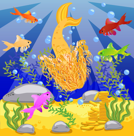 An underwater world in a children's style vector background. A mermaid in the sea, wooden chest with gold on the bottom of the sea. Seabed in a cartoon style.
