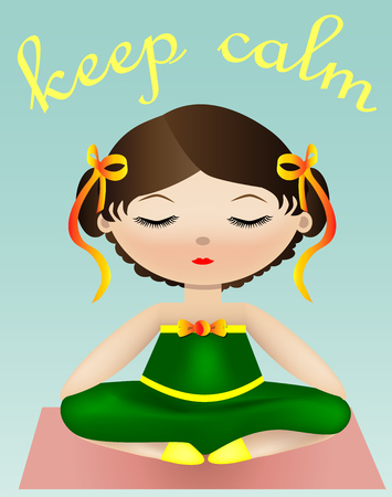 Female yoga. A girl in a green suit is sitting in a lotus pose. illustration of a woman practicing yoga. Inscription Keep calm