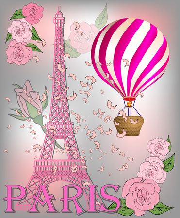 Vintage France poster design. romantic background with Eiffel tower and roses. Inscription Paris Illusztráció