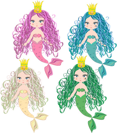 Set of cartoon, cute little mermaid, sea princess, siren, with long hair, open eyes and a forked tail
