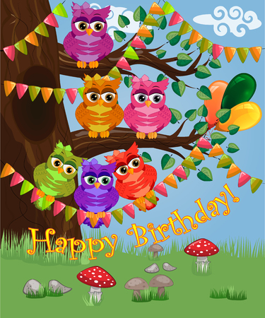 A cute flirtatious owl sits on a tree decorated with garlands, balloons, a postcard, a cartoon children's style, spring. Inscription Happy Birthday