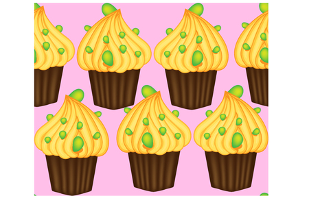 Seamless pattern of cupcakes with yellow cream, sweets, baked goods. Illusztráció