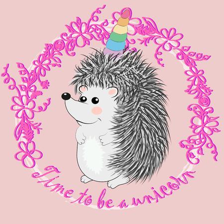 A cute cartoon hedgehog with a unicorn horn. Concept everyone can be a unicorn Illustration