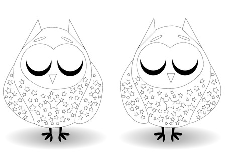 Coloring book for adult and older children. Coloring page with cute owl. Outline drawing Illustration
