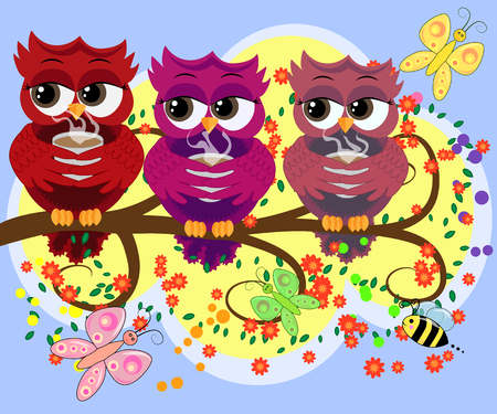 Cute beautiful flirtatious owls on the tree with a cup of steaming coffee, tea or chocolate Vectores