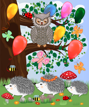 Forest landscape, cartoon illustration with ladybirds, mushrooms, mushrooms, sun, hedgehog, sleepy, unhappy owl, butterflies. Children's style, greeting card Vectores