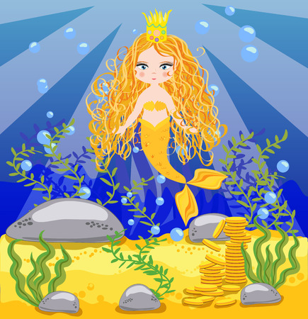 Vector background with an underwater world in a children's style.